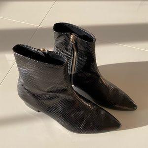 ZARA Black Faux Snakeskin Ankle Boots